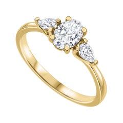 0.94 Carat Oval Shaped 3 Stone Diamond Ring in 14k Yellow Gold, Shlomit Rogel