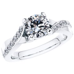 0.94 Carat Platinum Engagement Round Diamond Bespoke Fancy Vine 4 Prong Ring