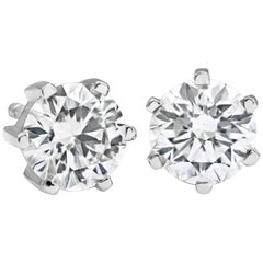 0.94 Carat Round Diamond 6 Prong Stud Earrings