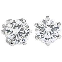 0.94 Carat Round Diamond 6 Prong Stud Earrings