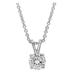 0.94 Carat Round Diamond Solitaire Pendant Necklace