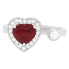 0.94 Carat Spinel and Diamond Heart Ring