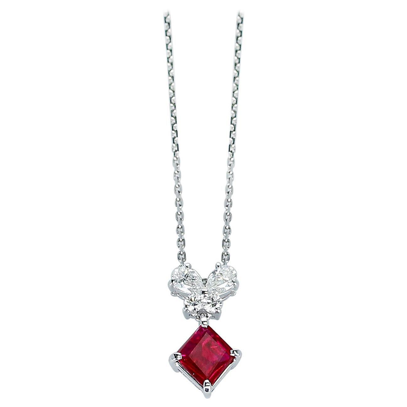 0.94 Ct. Ruby and 0.32 Ct. Diamonds Pendant Necklace, Platinum