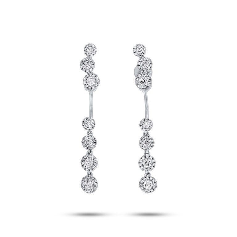 Women's 0.94 Carat 14 Karat White Gold Diamond Earring Jacket with Studs For Sale