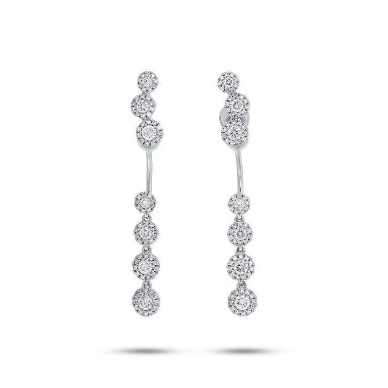 Women's 0.94 Carat 14 Karat White Gold Diamond Earring Jacket with Studs For Sale