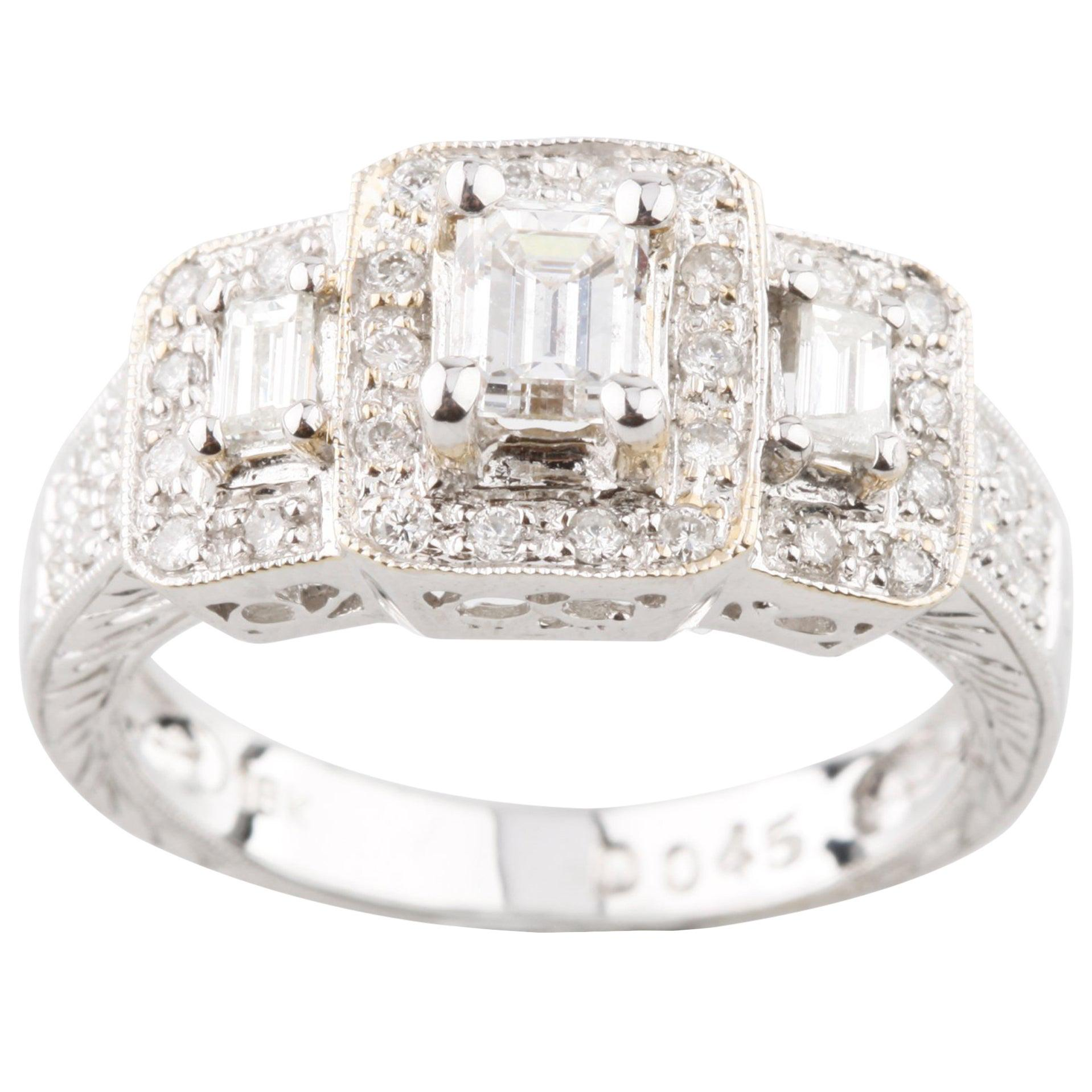 0.95 Carat 3-Stone Emerald Cut Diamond 18 Karat White Gold Engagement Ring