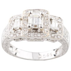 0.95 Carat 3-Stone Emerald Cut Diamond 18 Karat White Gold Engagement Ring