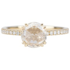 0.95 Carat Clear Rose Cut Diamond Engagement Ring 14 Karat Yellow Gold AD1827-1