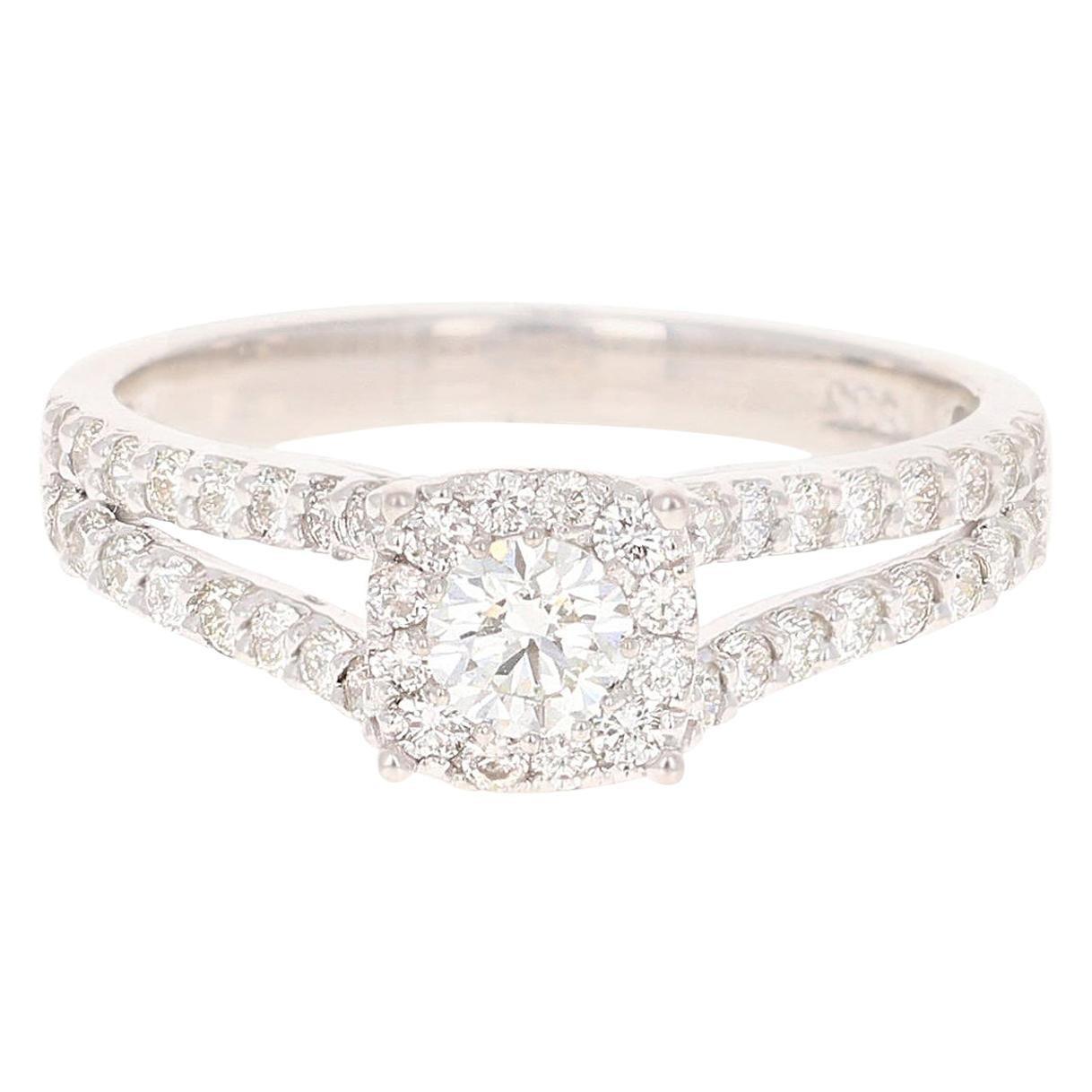 0.95 Carat Diamond 14 Karat White Gold Cluster Bridal Ring