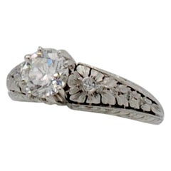 0.95 Carat Diamond and Platinum Engagement Ring