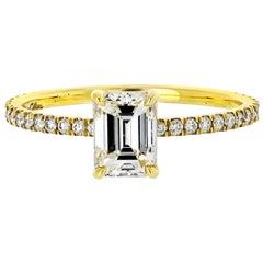 0.95 Carat Emerald Cut Diamond Pave Setting Engagement Ring