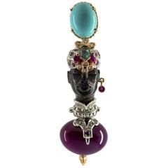"0.95 Carat Emerald Ruby Diamond Turquoise Agate Yellow Gold ""Blackamoor"" Pendant"