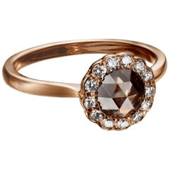 0.95 Carat Fancy Brown Rose Cut Diamond Halo Ring in 18 Karat Rose Gold