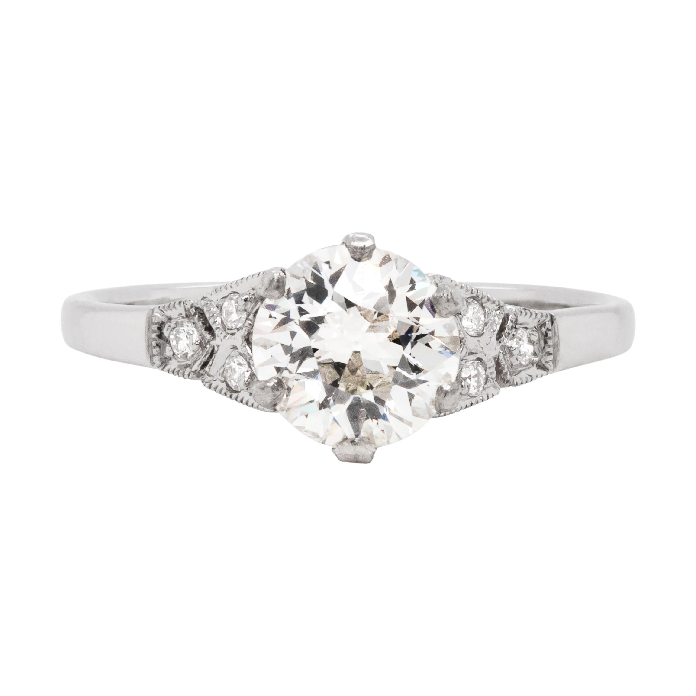 0.95 Carat Old Cut Diamond Platinum Engagement Ring, circa 2000s