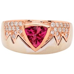 0.95 Carat Pink Tourmaline and Diamond Men's Ring