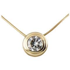 0.95 Carat Round Diamond Bezel Set Solitaire 14 Karat Gold Pendant Necklace