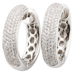 0.95 Carat Round Diamond Pave Hoop Earrings in White Gold with Certificate