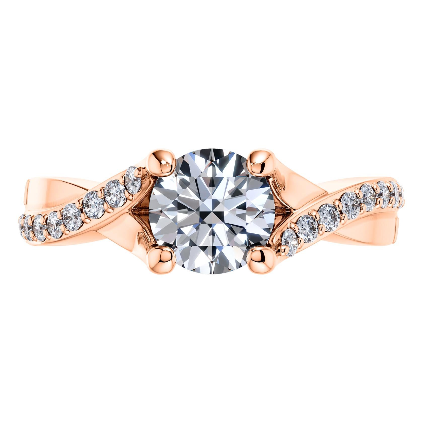 0.95 Carat Round Diamond Twisted 18 Karat Rose Gold 4 Prong Love Engagement Ring