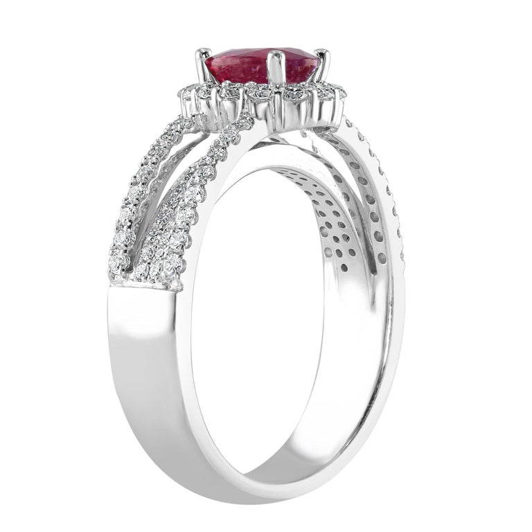 Oval Cut 0.95 Carat Ruby and Diamond White Gold Cocktail Ring For Sale