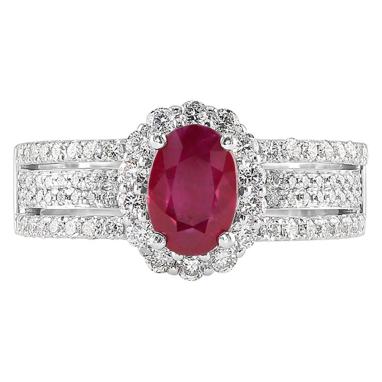 0.95 Carat Ruby and Diamond White Gold Cocktail Ring For Sale