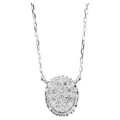 0.95 Carat Stunning 14 Karat Solid White Gold Diamond Chain Necklace