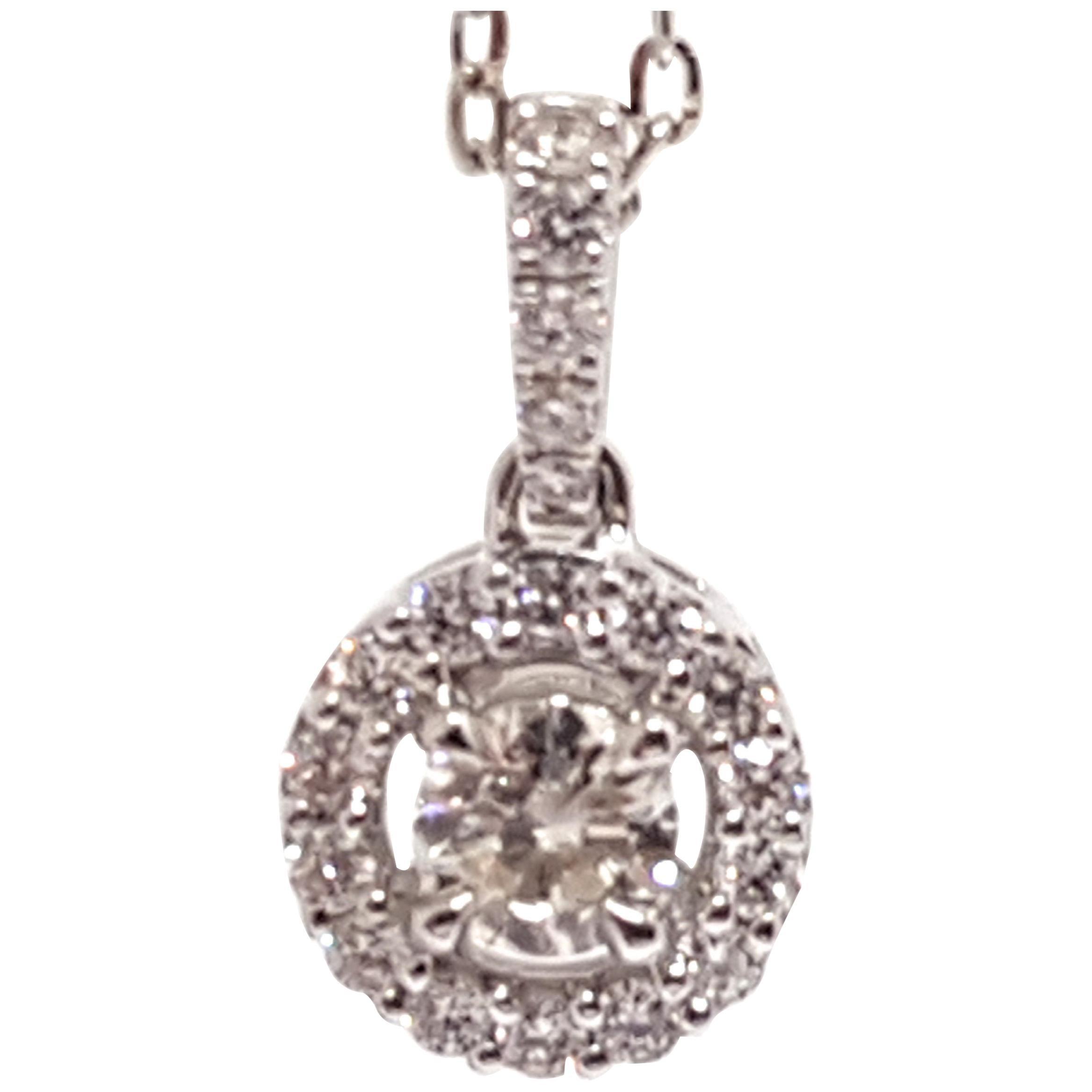 0.95 Carat White Gold Necklace Diamond Halo Solitaire Pendant