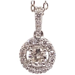 0.95 Carat White Gold Necklace Diamond Halo Solitaire Pendant