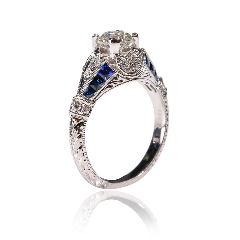 Art Deco 0.95 Carat Diamond 0.76 Carat Blue Sapphire Ring 18 Karat White Gold Engagement  For Sale