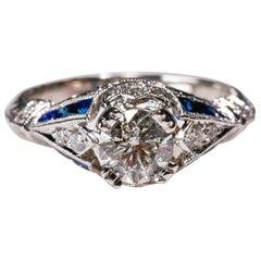 0.95 Carat Diamond 0.76 Carat Blue Sapphire Ring 18 Karat White Gold Engagement