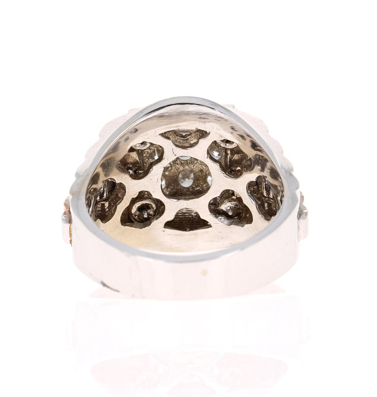 0.95 Round Cut Diamond Men's Wedding Ring 14 Karat White Gold In New Condition For Sale In San Dimas, CA