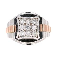 0.95 Round Cut Diamond Men's Wedding Ring 14 Karat White Gold