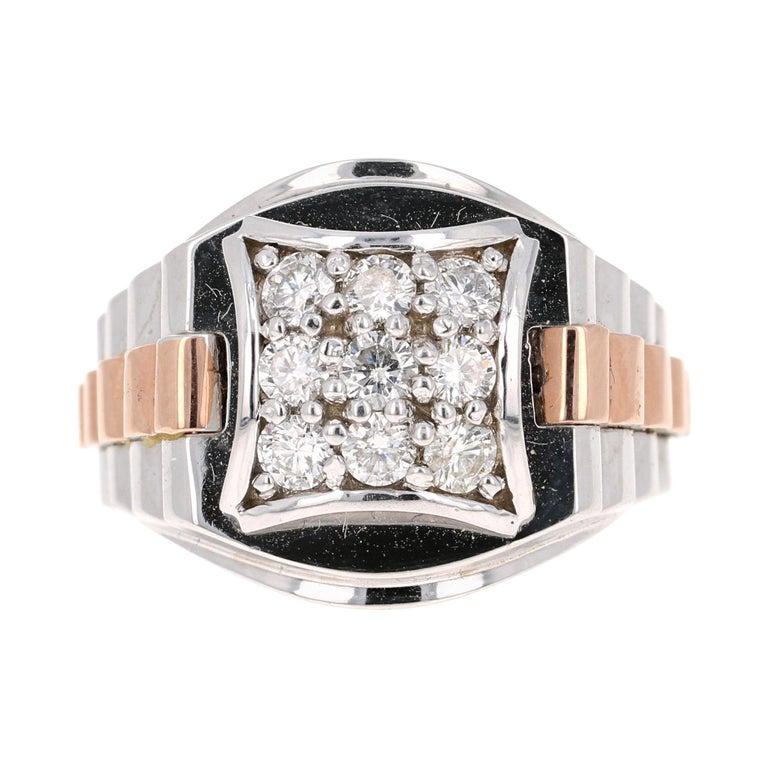 0.95 Round Cut Diamond Men's Wedding Ring 14 Karat White Gold For Sale