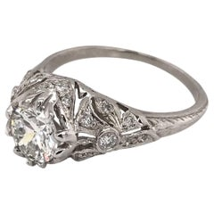0.96 Carat Antique Style Platinum Engagement Ring