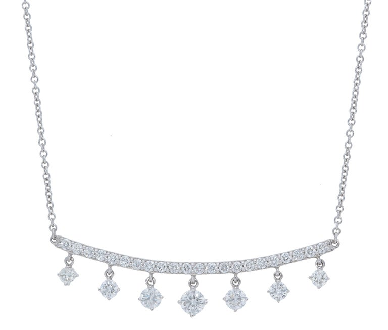 9c694e0a13fa0 0.96 Carat Curved Diamond Bar Necklace with Dangling Detail