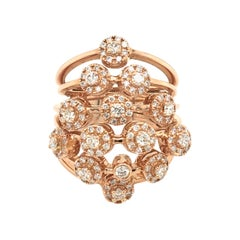 0.96 Carat Diamond Flower Ring Rose Gold Italy with Box