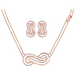0.96 Carat Diamond Rose Gold Infinity Necklace and Earrings Set