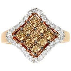 0.96 Carat Natural Cognac Color Diamond and 0.38 Carat Diamond Ring