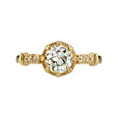0.96 Carat Old European Cut Diamond Set in a Handcrafted 18 Karat Gold Ring
