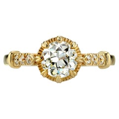 0.96 Carat Old European Cut Diamond Set in a Yellow Gold Engagement Ring