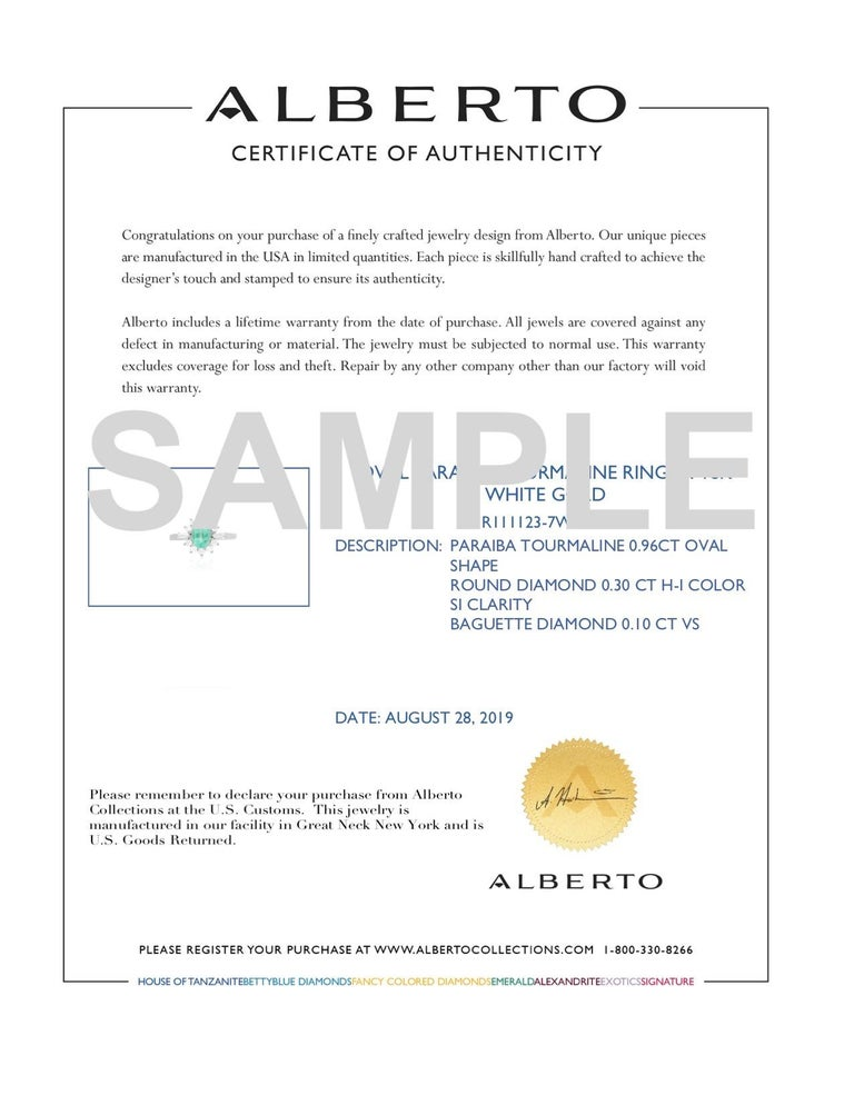 Contemporary Paraiba Tourmaline and Round White Diamond Halo Baguette Accent 18K White Gold