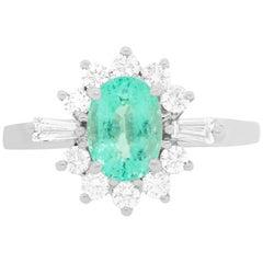 0.96 Carat Paraiba Tourmaline and Diamond Engagement Ring
