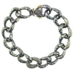 0.96 Carat Pave Diamond Link Bracelet Oxidized Sterling Silver, 14 Karat Gold