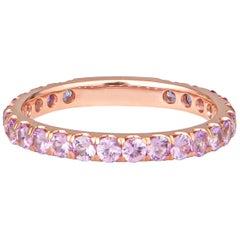 0.96 Carat Round Light Pink Sapphire Stacking Band in 14 Karat Rose Gold