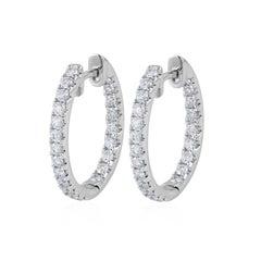 0.96 Carat Total Round Diamond Hoop Earrings