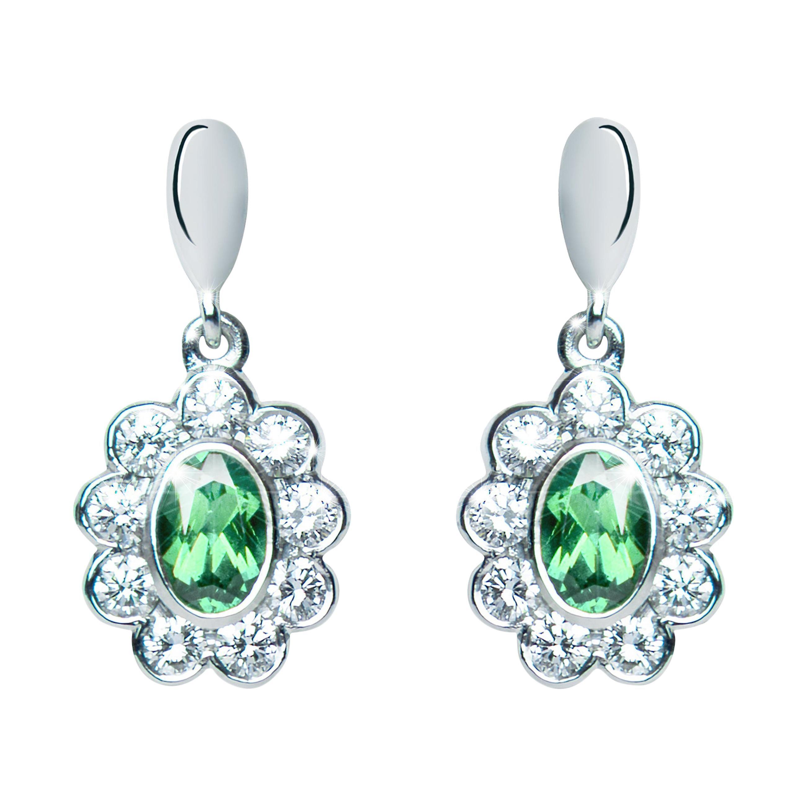 0.96 Carat Tourmaline Green Oval Diamond Flower Drop Earrings Natalie Barney