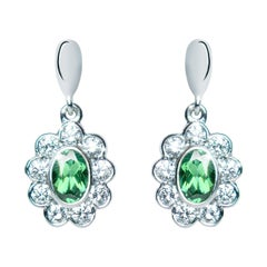 0.96 Carat Tourmaline Green Oval Diamond Flower Drop Earrings Natalie Barney