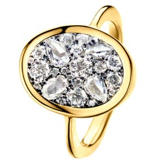 0.965 Carat GHVS White Rose-Cut and DEGVVS Brilliant-cut Diamond Pave Ring