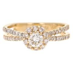 0.97 Carat Diamond Wedding Ring 14 Karat Yellow Gold