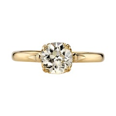 0.97 Carat OP/SI1 EGL Certified Old Euro Cut Diamond Set in an 18K Gold Ring