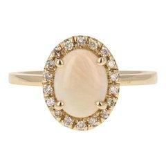 0.97 Carat Opal Diamond 14 Karat Yellow Gold Ring